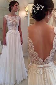 lace chiffon backless a line wedding dresses capped sleeves sweep