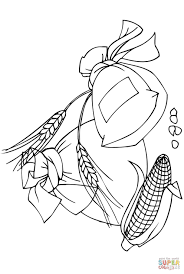 spikelets corncob and flour bags coloring page free printable