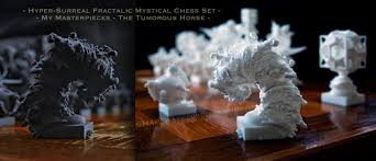 surreal chess set my masterpieces the knight by mandelwerk on