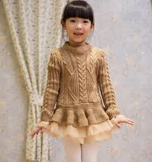 2016 autumn and winter girls sweater dresses soft knitted sweater