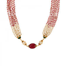 necklace gold pearl images 22k gold pearl ruby beads mala raj jewels jpg