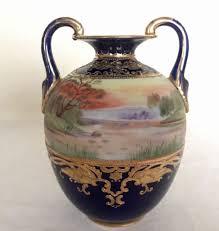 Antique Hand Painted Vases Gorgeous Antique Morimura Bros Nippon Cobalt Vase Hand Painted
