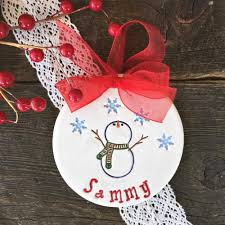 let it snow personalized snowman ornament by say your