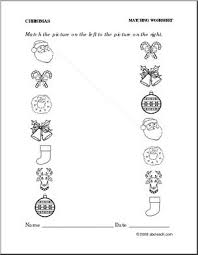 worksheet christmas match pictures preschool primary abcteach