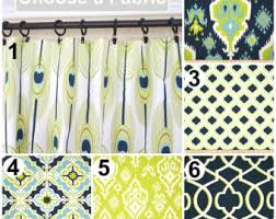 Grey And Lime Curtains Green Curtains Etsy