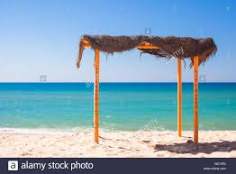 Small Canopy by Small Canopy At Empty Tropical Beach On The Atlantic Coast Stock