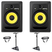 krk home theater krk rp8 monitor speaker monitor u0026 stand bundle from rimmers music
