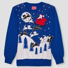 s santa with felt cats sweater well worn blue