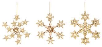 cypress home gold glitter snowflake acrylic ornaments 3 set