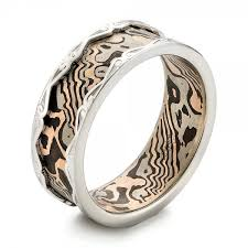 white gold wedding ring men s mokume and white gold wedding band 102829