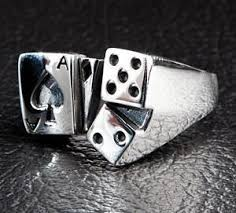 dice ace spade card designer silver ring silverringsmens