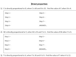 direct proportion scaffolded worksheet by rebeccajade94 teaching