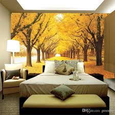 Birch Home Decor Autumn Birch Street Photo Wallpaper Fallen Leaves Wall Mural Wall