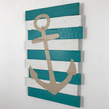 beach decor anchor teal white u0026 khaki 18x27 tropical island