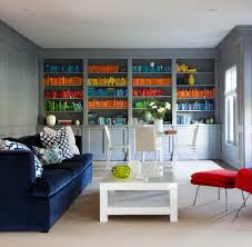 colorful books with chest home theater contemporary and san