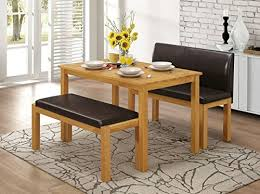 HGG   Seat Bench And Table Set  Kitchen Bench And Table  Solid - Rubberwood kitchen table