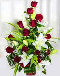 Roses And Lilies Arrangement With Red Roses And White Lilies
