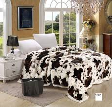 200 240cm 6 kg cow printing bedding blanket faux fur home