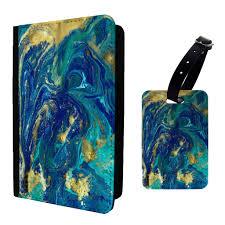 Muster Blau Grün Blau Gr禺n Marmor Muster Kofferanh磴nger Oder Passport Halter