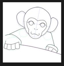 how to draw a monkey face step by step for kids