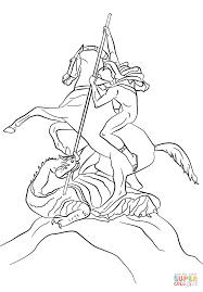 st george fighting the dragon coloring page free printable
