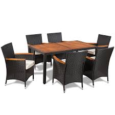 Rattan Patio Dining Set - vidaxl poly rattan garden dining set 6 chairs and a table wooden