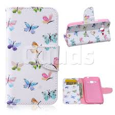 colored butterflies leather wallet case for samsung galaxy j2