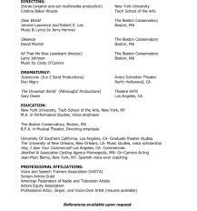 Beginner Acting Resume Voice Actor Resume Virtren Com
