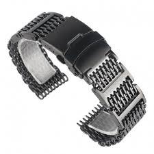mesh steel bracelet images Shark mesh 22mm stainless steel bracelet with links black jpg