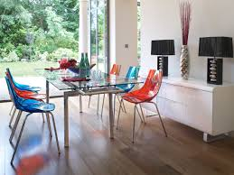 attractive decoration dining room interior with red and blue