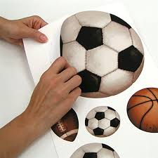 Sports Themed Wall Decor - ball sports peel and stick wall decals and growth chart soccer