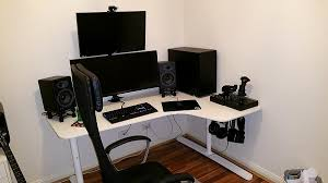 Corner Desks For Home Office Ikea White Ikea Bekant Corner Desk In A Gaming Room With White Wall