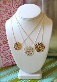 gold monogrammed necklace cutout monogram necklace 14k yellow white or gold
