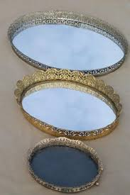 Mirrored Glass Vanity Vintage Gold Lace Filigree Vanity Tray Mirrors Mirrored Glass