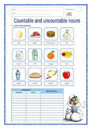 Countable And Uncountable Nouns Explanation Pdf Worksheets Countable And Uncountable Nouns Worksheets