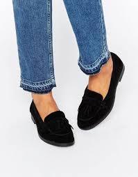 look high bags look suedette fringe loafer black