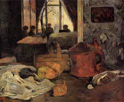 still life of onions and pigeons and room interior in copenhagen