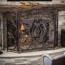 best selling home decor hayward 3 panel iron fireplace screen