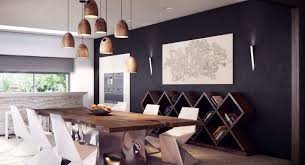briliant idea for contemporary dining room with black wall and briliant idea for contemporary dining room with black wall and woodern rustic hanging lamps