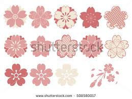 cherry blossoms design parts material stock vector 508580017