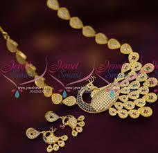 colour gold necklace images Nl6939 peacock jewellery cz blue white colour latest design JPG