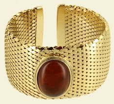 gold amber bracelet images Vintage large gold tone mesh faux amber cab cuff bracelet 6 25 jpeg