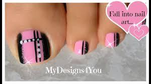 quick toenail design pink and black pedicure youtube