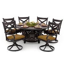 Patio Furniture 7 Piece Dining Set - avondale 7 piece aluminum patio fire pit dining set with swivel