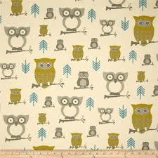 Owl Item by Premier Prints Hooty Owl Summerland Natural Discount Designer