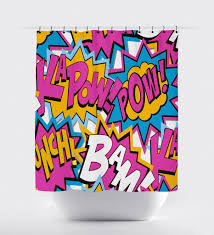 Words Shower Curtain Bam Pow Purple Blue Superhero Word Shower Curtain U2013 Print Art Shoppe