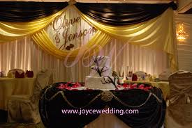 reception décor chocolate yellow backdrop design names