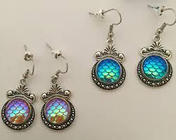 mermaid earrings clip on earrings mermaid purple sea shell earrings mermaid