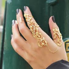 chain rings gold images Hand chain ring statement slave rings filigree ring gold chain jpg