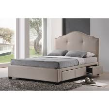King Storage Platform Bed Baxton Studio Armeena Upholstered Storage Platform Bed Light